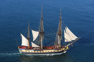 HMS2066234 France, Charente Maritime, Ars en Re, L'Hermione frigate, replica of the three masts which brought the marquis de Lafayette to America in 1780 (aerial view)