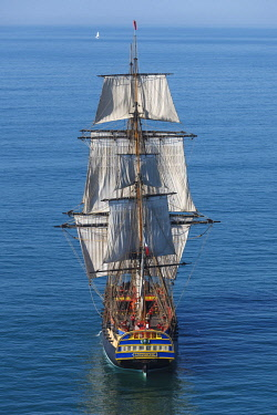 HMS2066241 France, Charente Maritime, Ars en Re, L'Hermione frigate, replica of the three masts which brought the marquis de Lafayette to America in 1780 (aerial view)