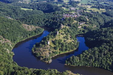 HMS2066774 France, Creuse, Crozant, the castle at the confluence of la Petite Creuse and la Sedelle rivers and the village (aerial view)