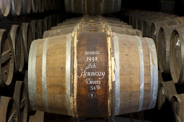HMS2188706 France, Charente, Cognac, Hennessy cognac house, cellar, barrel inscribed with chalk