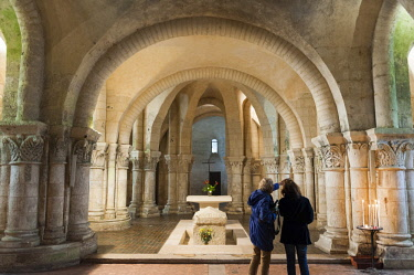 HMS2433764 France, Charente Maritime, Saintes, stage on the way to Saint Jacques de Compostela, crypt of the Saint Eutrope church listed as World Heritage by UNESCO