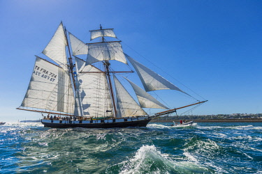 HMS2688948 France, Finistere, Brest, Brest 2016 International Maritime Festival, large gathering of traditional boats from around the world, every four years for a week, The Recouvrance is a replica gaff rigged...
