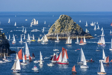 HMS2688964 France, Finistere, Brest, Brest 2016 International Maritime Festival, large gathering of traditional boats from around the world, every four years for a week, race between Brest and Douarnenez, view f...