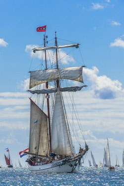 HMS2688969 France, Finistere, Brest, Brest 2016 International Maritime Festival, large gathering of traditional boats from around the world, every four years for a week, J.R. Tolkien is a gaff topsail schooner o...