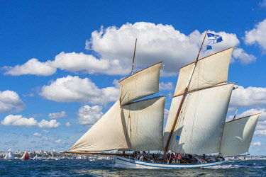 HMS2688978 France, Finistere, Brest, Brest 2016 International Maritime Festival, large gathering of traditional boats from around the world, every four years for a week, the Granvillaise is a bisquine replica bu...