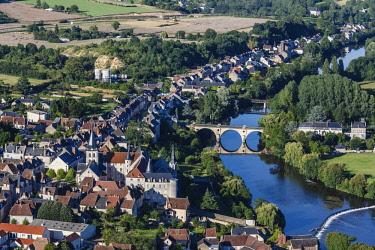 HMS2040354 France, Indre, Saint Gaultier, the village and la Creuse river (aerial view)