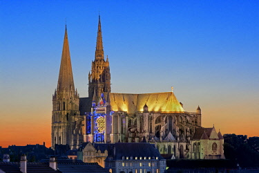 HMS2081945 France, Eure et Loir, Chartres, the cathedral listed as World Heritage by UNESCO during the festival Chartres in Lights