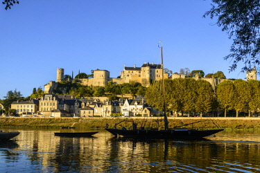 HMS2355575 France, Indre et Loire, Loire Valley listed as World Heritage by UNESCO, castle of Chinon along the Vienne river