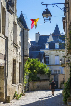 HMS2356653 France, Indre et Loire, Loire valley listed as World Heritage by UNESCO, Chinon, the alleys at the foot of the fortress, Voltaire street