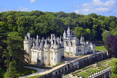 HMS2398738 France, Indre et Loire, Loire valley listed as World Heritage by UNESCO, Rigny Usse, castle of Usse which has inspired the french author Charles Perrault for Sleeping beauty (aerial view)