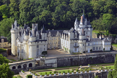 HMS2398739 France, Indre et Loire, Loire valley listed as World Heritage by UNESCO, Rigny Usse, castle of Usse which has inspired the french author Charles Perrault for Sleeping beauty (aerial view)