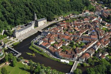 HMS2569066 France, Dordogne, Brantome, Saint Pierre benedictine abbey along the Dronne river and the village (aerial view)