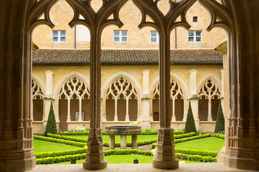 HMS2611714 France, Dordogne, Perigord Noir, Le Buisson de Cadouin, the cloister of the former Cistercian abbey in flamboyant gothic style located on the Chemin de Saint Jacques de Compostelle listed as World Her...
