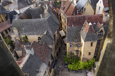 HMS2066641 France, Dordogne, Sarlat la Caneda, view overlooking the roof of the old town from the steeple of St Mary church