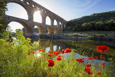 HMS2234377 France, Gard, the Pont du Gard listed as World Heritage by UNESCO, Big Site of France, Roman aqueduct from the 1st century which steps over the Gardon