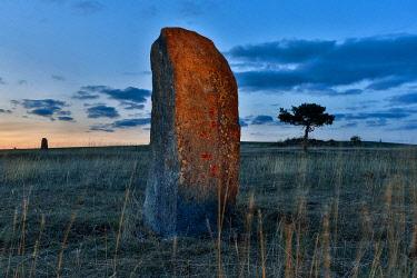 HMS3090400 France, Lozere, Cevennes national Park (UNESCO), Lozere Mountain, menhir erected on mount Lozere