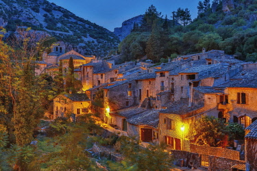 HMS3090583 France, Herault, St. Guilhem le Desert, France, Herault (34), Parc Naturel Regional du Haut Languedoc , Minerve, listed as The most beautiful villages in France, overview of the village night