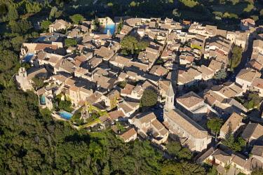 HMS3093430 France, Gard, village of Castillon du Gard (aerial view)