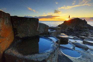 NIR8906AW Europe, Northern Ireland, Giant's Causeway at sunset MR