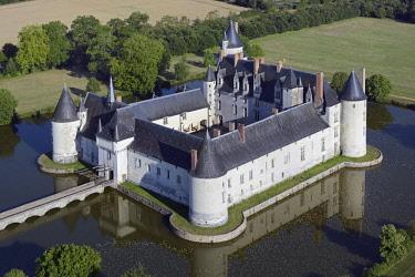 HMS2081989 France, Maine et Loire, Ecuille, the castle of Le Plessis Bourre (aerial view)
