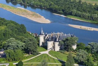 HMS2237621 France, Loir et Cher, Chaumont sur Loire, Loire Valley listed as World Heritage by UNESCO, castles of the Loire, Chateau de Chaumont sur Loire (aerial view)