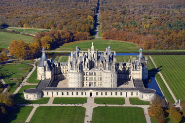 HMS2398731 France, Loir et Cher, Loire valley listed as World Heritage by UNESCO, the castle of Chambord (aerial view)