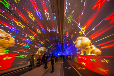 HMS2106670 France, Rhone, Lyon, historical site listed as a World Heritage by UNESCO, festival of lights, the pedestrian tunnel Modes Doux of La Croix Rousse, dressing image is a world premiere, long-lasting ill...
