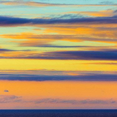 ES06346 Sunset off the north coast, Serra de Tramuntana, Mallorca (Majorca), Balearic Islands, Spain