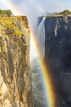 ZIM2543AWRF Victoria Falls, Zimbabwe, Africa. Rainbow and water steam