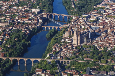 HMS2098085 France, Tarn, Albi, Episcopal City of Albi listed as World Heritage by UNESCO (aerial view)