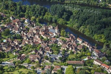 HMS2098931 France, Lot, Carennac, labelled Les Plus Beaux Villages de France (The Most beautiful Villages of France), the village on the Dordogne river (aerial view)