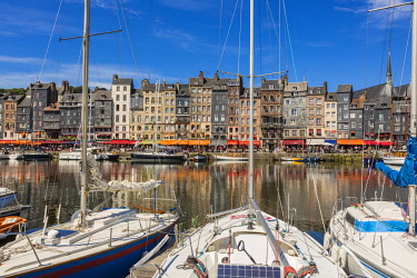 HMS2399799 France, Calvados, Pays d'Auge, Honfleur, Vieux Bassin (old harbour) (old Harbour) and Sainte Catherine quay