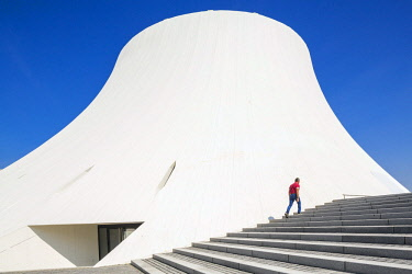 HMS2878686 France, Seine Maritime, Le Havre, city center listed as World Heritage by UNESCO, Espace Niemeyer, the Volcano is a theater designed by Oscar Niemeyer and inaugurated in 1982