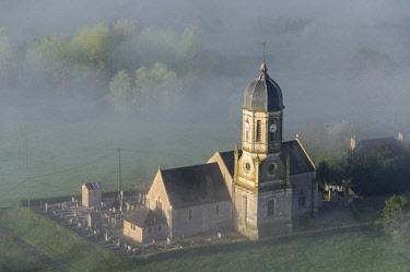 HMS1961801 France, Calvados, Hotot en Auge, Saint-Georges Church (aerial view)