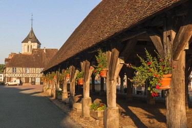 HMS2030489 France, Eure, La Ferriere sur Risle, little village of pays d'Ouche, the medieval covered market