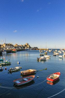 HMS2068114 France, Manche, Cotentin, Barfleur, labeled Les Plus Beaux Villages de France (The Most Beautiful Villages of France), the little fishing harbour