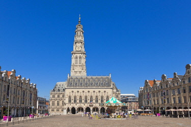 HMS2099446 France, Pas de Calais, Arras, Place des Heros, Town Hall topped with its 77 meters belfry listed as World Heritage by UNESCO