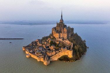 HMS2169083 France, Manche, Bay of Mont Saint Michel (UNESCO), the Mont Saint Michel, the spring tide of 21 March 2015 (aerial view)
