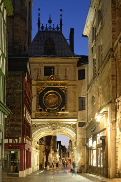 HMS2229418 France, Seine Maritime, Rouen, the Gros Horloge is an astronomical clock dating back to the 16th century