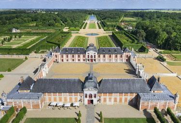 HMS2237540 France, Eure, Le Neubourg, Chateau du Champ de Bataille, 17th century castle renovated by its owner, the interior designer Jacques Garcia (aerial view)