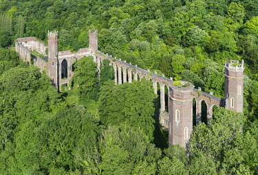 HMS2237552 France, Eure, Pont Saint Pierre, Levavasseur mill of Fontaine Guerard, industrial ruins of gothic revival english (aerial view)