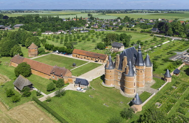 HMS2237596 France, Seine Maritime, Martainville Epreville, Chateau de Martainville, 15th century, it houses the museum of arts and Norman traditions (aerial view)