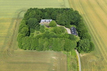 HMS2267600 France, Seine Maritime, Epreville, traditional Normandy farmhouse (aerial view)