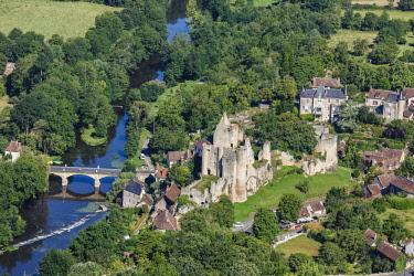 HMS2040380 France, Vienne, Angles sur l'Anglin, labelled Les Plus Beaux Villages de France (The MoSaint Beautiful Villages of France), the castle and l'Anglin river (aerial view)