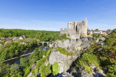 HMS2040385 France, Vienne, Angles sur l'Anglin, labelled Les Plus Beaux Villages de France (The MoSaint Beautiful Villages of France), the castle near l'Anglin river