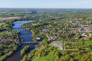 HMS2040443 France, Vienne, L'isle Jourdain, viaduct and bridge over la Vienne river (aerial view)