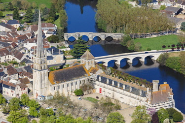HMS2040494 France, Vienne, Saint Savin, abbey listed as World Heritage by UNESCO and the bridges over the Gartempe river (aerial view)