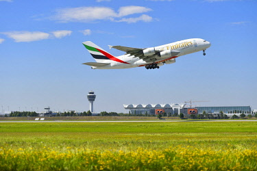 IBLATF04334796 Airbus A380 of Emirates Airlines starting, Munich Airport, Munich, Bavaria, Germany, Europe