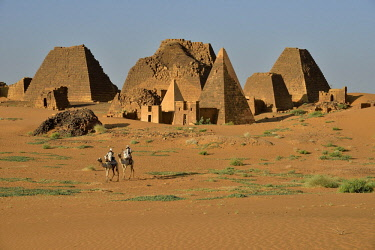 IBLFVP04116967 Pyramids of the northern cemetery of Meroe, Black Pharaohs, Nubia, Nahr an-Nil, Sudan, Africa