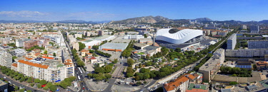 HMS2061712 France, Bouches du Rhone, Marseille, Rond Point du Prado district, Chanot park and the Stade Velodrome from the building Le Grand Pavois
